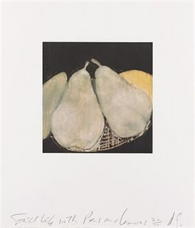 still life with pears and lemons by donald sultan