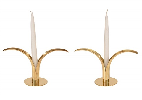 "pair of swedish ""lily"" candle holder by ystad"