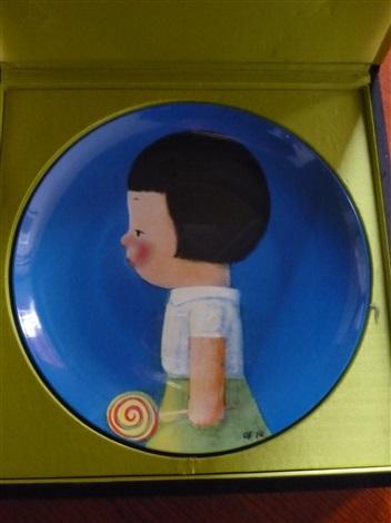 porcelain plate girl in profile by liu ye