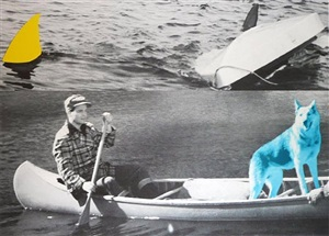 man, dog (blue), canoe/shark fins (one yellow), capsized boat by john baldessari