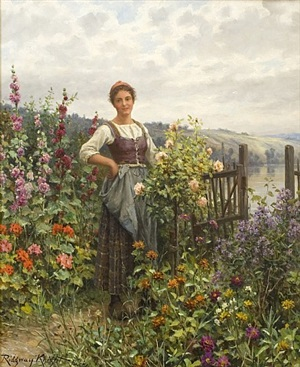 tending the flowers by daniel ridgway knight