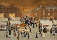 oldham market in the snow on christmas eve by helen bradley