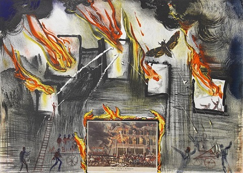 fire! fire! fire! from the currier and ives suite (field 71-5 f) by salvador dalí