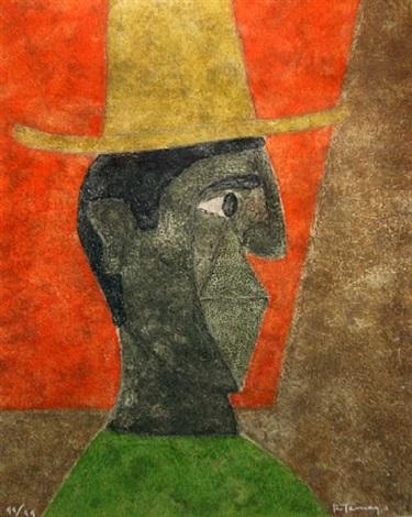 cabeza con sombrero by rufino tamayo