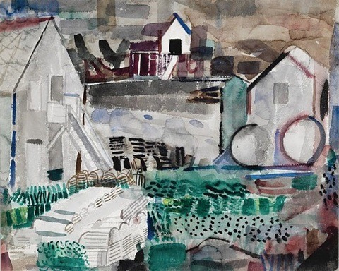 monhegan harbor by henry kallem