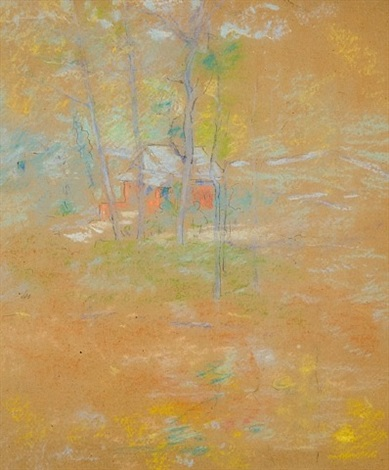 red house, pelham's lane, branchville, connecticut by john henry twachtman