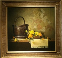 copper with marigolds by eleanor moore