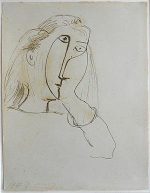 femme appuyant sa tête sur sa main (dora maar portrait) by pablo picasso