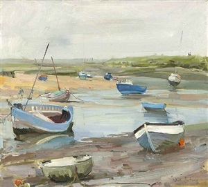 burnham overy staithe, still grey morning by nick botting