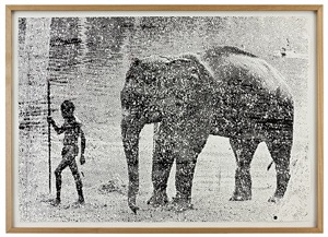 untitled (elephant and boy) by walter dahn