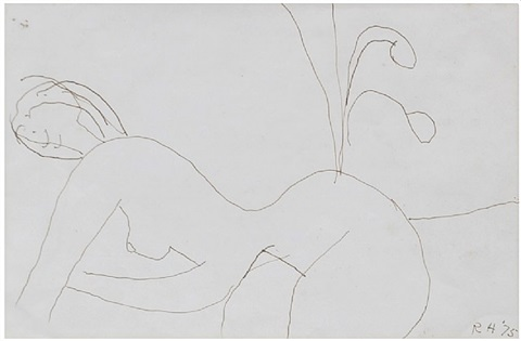untitled (nude with flowers) by roger hilton