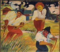 drei bauern auf dem feld / three farmers on a field by philipp bauknecht