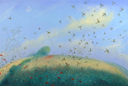 goldfinches, poppies and the pale midsummer moon by nicholas hely hutchinson
