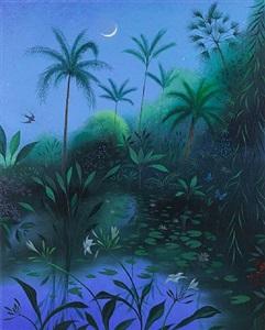 nightbird in a tropical garden by nicholas hely hutchinson