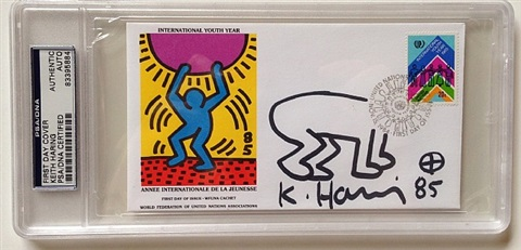 postal cover sketch/autographed by keith haring