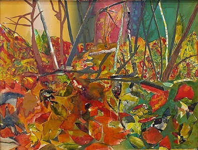 woods, lovely, dark, and deep by romare bearden