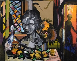 flowers and liquor, pears and bust by jesse mccloskey