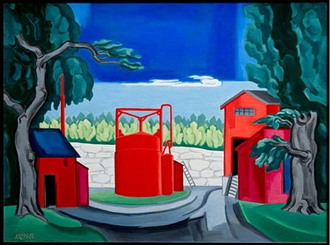 pagoda (red tank west quincy) by oscar florianus bluemner