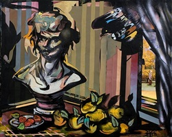 crow and fruits, bust and artist by jesse mccloskey