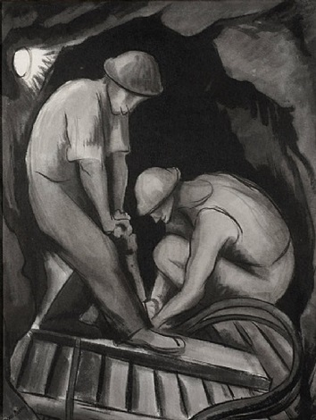 miners in guerrero by diego rivera