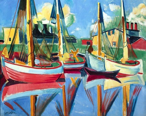 fishing boats in the afternoon sun (sold) by max pechstein