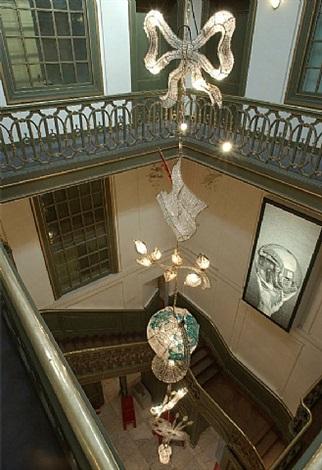 chandelier string - palais the hague (escher exposition) by hans van bentem