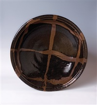 obachi, large bowl, black galze with poured decoration by shoji hamada