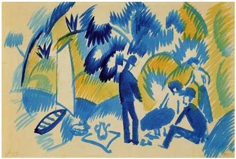 am thuner see, picknick nach dem segeln by august macke