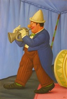 clown with trumpet by fernando botero