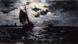 sailing vessel in moonlight by paul gauguin