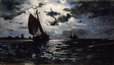 sailing vessel in moonlight by paul gauguin