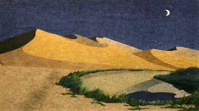 crescent moon spring, dunhuang by matsushita hiroe