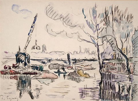 paris, la seine au pont des arts by paul signac
