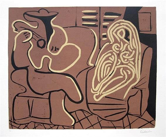 femme dans un fauteuil et guitariste (b. 917; ba. 1232) by pablo picasso