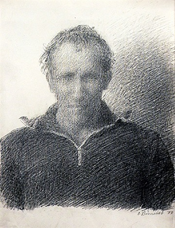 hazy self portrait drawn without glasses at summer home in abramtsevo by oleg vassiliev
