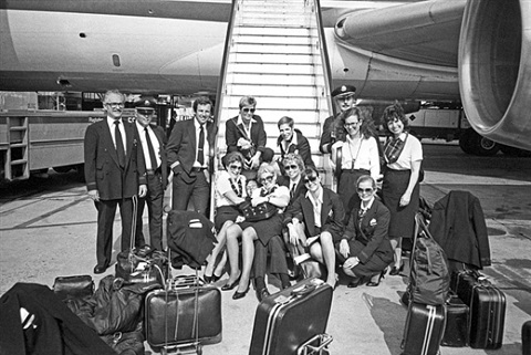cockpit and cabin crews, flughafen frankfurt am main (the flight attendant years), 1983 by lucien samaha