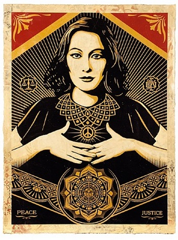 peace and justice woman by shepard fairey