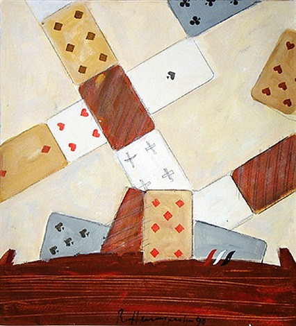 still life with cards by vladimir nemukhin