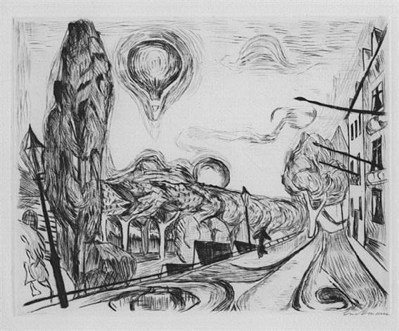 landschaft mit ballon by max beckmann