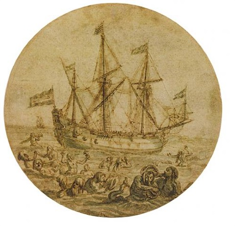 an allegorical ship surrounded by naiads by adriaen pietersz van de venne