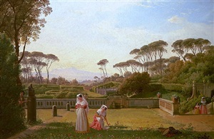 figures in the garden of the villa doria pamphili in rome, with a view of the old church of san pancrazio by franz ludwig catel