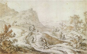 figures in a rocky landscape by herman saftleven