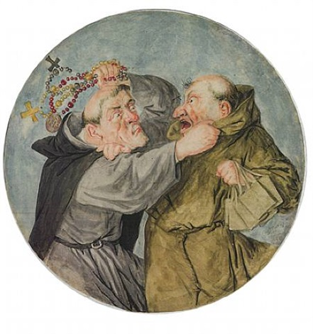 two monks fighting by cornelis dusart