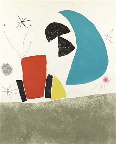 espriu series, plate 8 (blue half moon) by joan miró