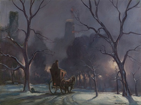 carriage on a winter evening, central park by carl sprinchorn