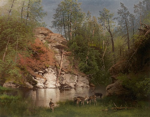 the deer pond, pikes county by hermann herzog