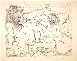 bacchic scene with minotaur by pablo picasso