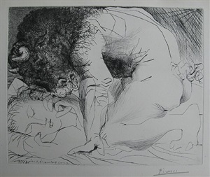 minotaur caressing a sleeping woman by pablo picasso