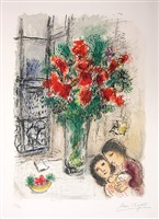 les fleurs rouge by marc chagall