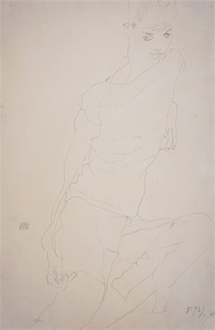 seated boy (self-portrait) by egon schiele